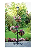 Elegante piantana porta vasi ad energia solare con 3piani e luce LED bianca