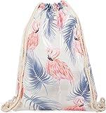 styleBREAKER transparenter Turnbeutel mit Flamingo und Palmen Print, wasserabweisend, Sportbeutel, Rucksack, Beutel, Unisex 02012250, Farbe:Rosa-Blau
