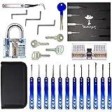 Kit Crochetage Serrure 17 Pièces - Lockpicking Tool Set en Acier Inoxydable Verrouillage Pick avec 2 Padlock Transparent, Bestargot, pour Serruriers Débutant et Pro, BSTPL01
