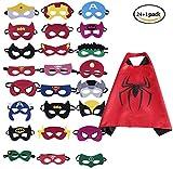 BUWANT 24 Stück Kinder Superhelden Masken und 1 Capes Gastgeschenke für Cosplay Party Masquerade im Alter von 3 bis 12 Jahre Alt