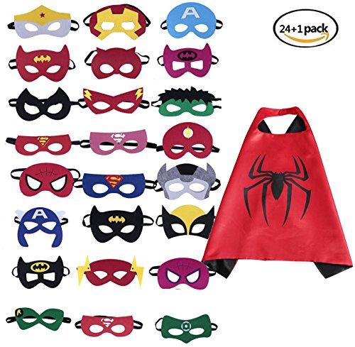 (BUWANT 24 Stück Kinder Superhelden Masken und 1 Capes Gastgeschenke für Cosplay Party Masquerade im Alter von 3 bis 12 Jahre Alt)