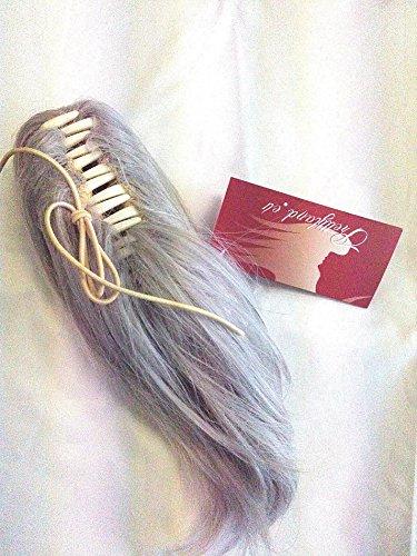 Prettyland - Silber Grau kurz Zopf glatt Klammer Pferdeschwanz Haarverlängerung Haarteil - 1 Stk.