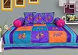 #7: RajasthaniKart Maherab 6 Piece 144 TC Cotton Diwan Set - Blue
