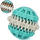 Hundespielball, MixMart Hundespielzeug Ball aus Naturkautschuk mit Dental-Zahnpflege-Funktion mit Noppen und Loch für Leckerli, ø 7cm, für große und kleine Hunde (Grün (Pfefferminz))