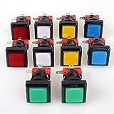 EG commence 10x Arcade Forme carrée LED Bouton poussoir lumineux avec micro Switch pour machine d'arcade de jeux vidéo consoles de jeu Jamma kit pièces lampe 12V 33mm Boutons (chaque couleur de 2pièces)