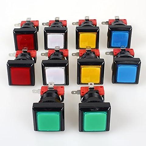 EG Starts 10x Arcade quadratische Form LED beleuchtet Druckknopf mit Micro Schalter für Arcade Machine Gaming Spiel-Konsolen Jamma Kit Teile 12V Lampe 33mm Tasten (je Farbe 2Stück)