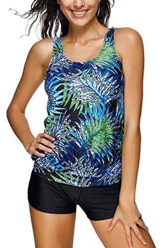 ALICECOCO Damen Sport Yoga Fitness 2-Teilig Tankini mit Shorts Strand Bikini Set mit Top (EU 38-40 (L), GN Leave)