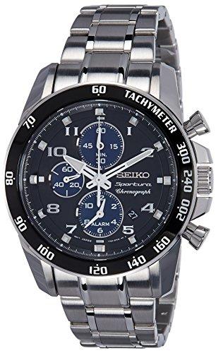 Seiko Herren-Armbanduhr XL Sportura Alarm-Chronograph Chronograph Quarz Edelstahl beschichtet SNAE63P1