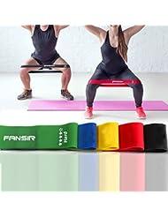 Set aus 5 Fitnessbändern – 100% Latex Loop-Band Gymnastikbänder / Loops für Yoga, Pilates, Reha-Sport Physio-Gymnastik – Für Männer & Frauen - Training für Ihren Körper Beinen Hintern