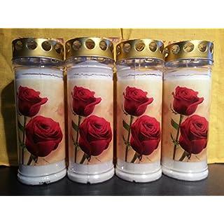 20 Stück Grablicht Motiv Rose, 20x7,5cm - Brenndauer ca. 7 Tage - 3889 - Qualitäts-Grablicht von Aeterna mit regenfestem Deckel zum Aufstellen auf das Grab.