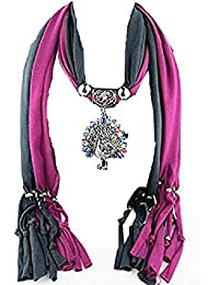 GirlZ! Black And Purple Color Scarf / Stole With Colourful Peacock Pendant For Women