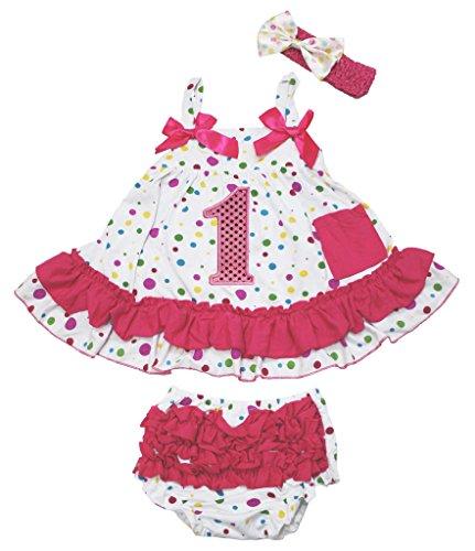 Petitebelle Birthday Bling 1st Polka Dots Swing Top Bloomer Pant Baby Girl Set Nb-24m (0-12 Monat) -
