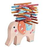 Bimaxta Stapelelefant aus Holz spielend Motorik, Konzentration und Farben Lernen Montessori Spielzeug Motorik Holzspielzeug ab 3 Jahren für die Motorische Entwicklung ihres Kindes
