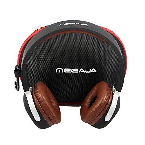 Meeaja Bluetooth Kopfhörer, drahtlose faltbar V4.1 NFC Stereo Sport Over-Ear-Kopfhörer Headset mit Schrittzähler Kopfhörer, Freisprechen mit Mikrofon für iPhone Samsung PC alle Bluetooth-fähigen Geräte(Braun )