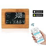 Xianan WiFi Uhr Wooden Wireless Digital Wecker mit LCD Bildschirm Wetterstation Tischuhr mit Temperatur / Luftfeuchtigkeit / Prognose Display