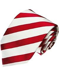 LORENZO cANA-cravate de luxe en 100%  soie blanc/rouge à bandes larges rayures - 84231