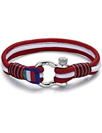 Italienisches Herren Armband in rot weiss. Marine Thema, mit Seil. Luca Barra DBA892. Wasser Sport, Mode, Stil, Schmuck Geschenk