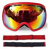 Dfghbn Occhialini da Corsa Dirt Bike Occhiali da Sci per Occhiali da Sci all'aperto con Protezione antinebbia e Occhiali da Sci Corsa ciclistica Occhiali da Sci da Equitazione (Color : Red+Red)