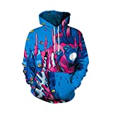 IMJONO Herren Frauen Paar Wear, Liebhaber Punk 3D Print Party Langarm Pullover Bluse Hoodie Sweatshirt(EU-36/CN-S,Blau)