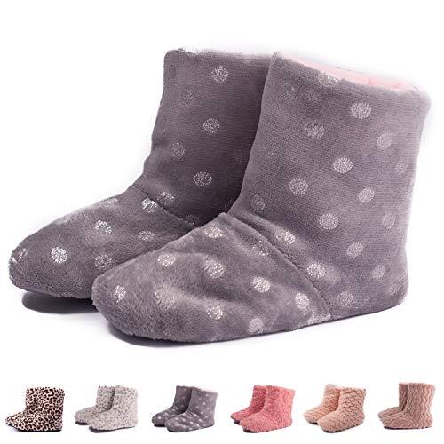 (TWINS Fashion « Montreal » weich & warm gefütterte Damen Hütten-Schuhe I Stiefel I Slippers I Fleece Plüsch - Rutschfeste hohe Hausschuhe Winter (36/37, Grau-Silber))
