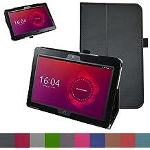 "bq Aquaris M10 Funda,Mama Mouth Slim PU Cuero Con Soporte Funda Caso Case para 10.1"" bq Aquaris M10 FullHD FHD HD / Aquaris M10 Ubuntu Edition Android Tablet,Negro"