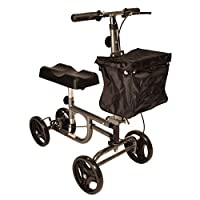Steerable Knee walker with brakes, adjustable height fold down handle and easily removeable front bag