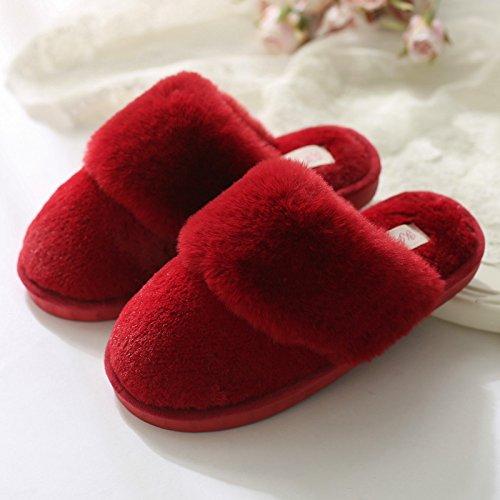 Doghaccd Pantoufles, Les Pantoufles De Coton Intérieur Hommes Et Femmes Anti-dérapant Épais Automne Hiver Les Amoureux Restent À La Maison Avec Les Douces Et Douces Chaussures En Cuir De Couleur Rouge Cuir1