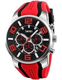 Sport Montre Pour Homme - Bracelet En Silicone Sous-Cadrans Chronographe Date Analogique Quartz Homme Montre, Rouge