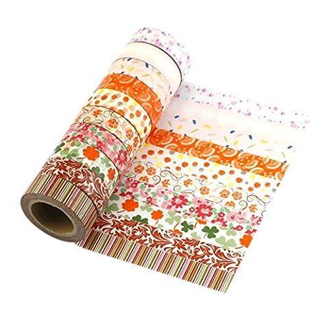 10 rouleaux Washi Tape Masking tape- Ruban Adhésif Papier Décoratif DIY klebriger Scrapbooking Papier autocollant décoratif ruban …