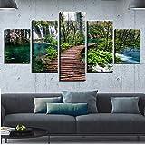 mmwin Imprimir imágenes de la Pared decoración de la Sala de Arte 5 Unidades Cascada Verde árbol y Maderas Puente Paisaje Natural Modular Lienzo Cartel