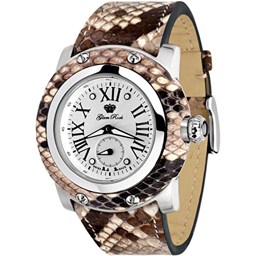 Glam Rock Women's Miami 46mm Multicolor Leather Band Steel Case Swiss Quartz Analog Watch GR10071