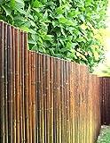 DE-COmmerce Robuster Bambus Holz Sicht Schutz Zaun ATY NIGRA I hochwertiger Windschutz Terrasse, Balkon, Garten I Bambusrohr Zaun mit geschlossenen Rohren 200 cm x 250 cm