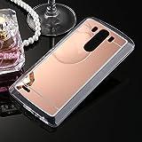 Handyhülle für LG G5, Schutzhülle für LG G5, Ysimee Mirrow Design TPU Silikon Hülle für LG G5, Silikon Schutz HandyHülle Smartphone Telefone Silikon Hülle Ultradünnen Weiche Telefon-Kasten Handyhülle Kratzfeste Schale Etui Bumper + 1 x Blau Stylus Pen - rose gold