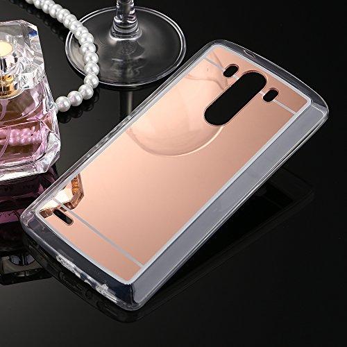 Handyhülle für LG G4, Schutzhülle für LG G4, Ysimee Mirrow Design TPU Silikon Hülle für LG G4, Silikon Schutz HandyHülle Smartphone Telefone Silikon Hülle Ultradünnen Weiche Telefon-Kasten Handyhülle Kratzfeste Schale Etui Bumper + 1 x Blau Stylus Pen - rose gold