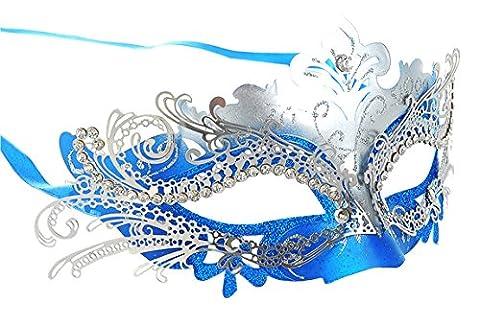 Venetian & Gem - Masquerade Mask Shiny Metal Rhinestone Venetian Pretty