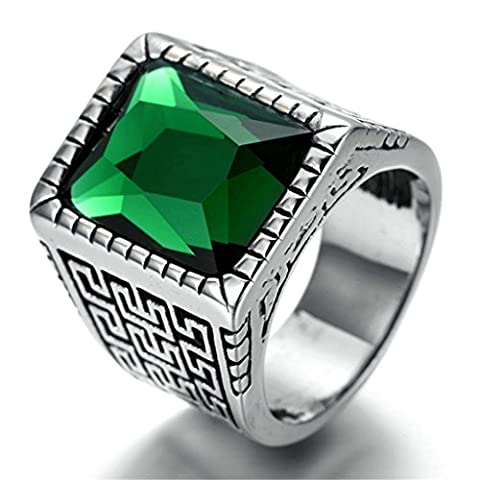 Stainless Steel Ring for Men, Rectangle Ring Gothic Silver Band GreenSize R 1/2 Epinki
