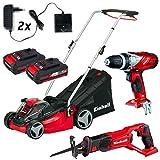 Einhell Power X-Change Garten Kit 4 System-Akku Rasenmäher + Bohrschrauber + Universalsäge inkl. 2 Akkus (2x2.0) und 2 Lader