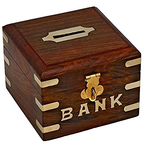 Tirelire carrée en bois - Bank - Ouverture et fermeture facile - idée cadeau noel