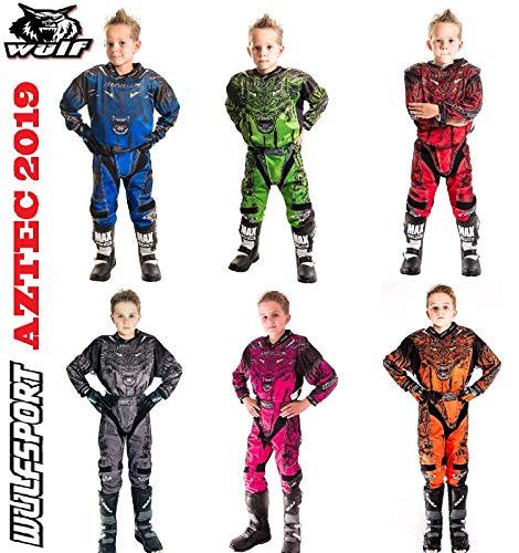 Wulfsport Bambini Tuta Motocross Aztec Bambini Tuta Moto Maglia Pantaloni off-Road Quad ATV PITBIKE Jersey Cross Vestito de Capretti, Nuovi 2019 (Blu,11-13 Anni)