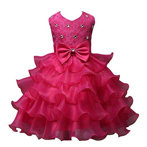 ernet Nagel-Bead Mädchen Kleid Hochzeit Party Kleider (100/ 2-3Y, Hot Pink) (Black Party Kleider Für Mädchen)