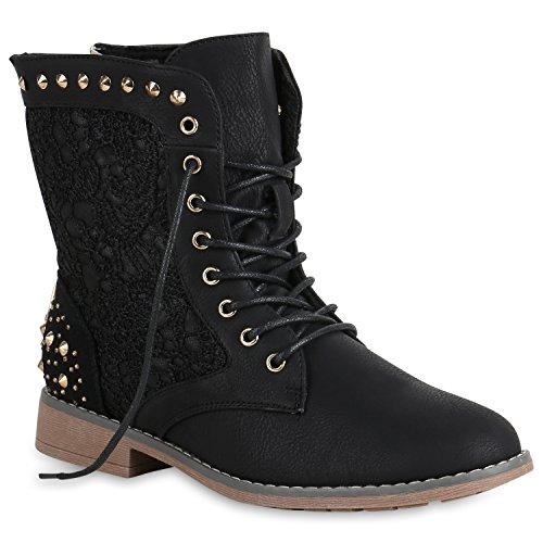 Schnürstiefeletten Damen Stiefeletten Spitze Nieten Schuhe 147515 Schwarz Nieten 39 Flandell