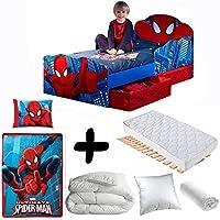 BEBEGAVROCHE Komplettpaket Premium Bett Spiderman Kopf Lichterkette = Bett + Matratze & Bettwäsche + Bettdecke + Kissen