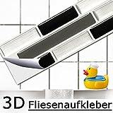 5er Set 25,3 x 4,3 cm Grandora Mosaïque 3D autocollant pour carrelage W5420 auto-adhésif cuisine salle de bain Stickers muraux Tuiles décoratives Film Noir Gris Argent brique