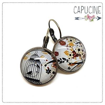Boucles d'oreilles cage aux oiseaux avec cabochon verre - Boucles d'oreilles dormeuses cage et oiseau - La Cage aux OIseaux - Idée cadeau Fête des mères, cadeau de Saint Valentin, idée cadeau d'anniversaire