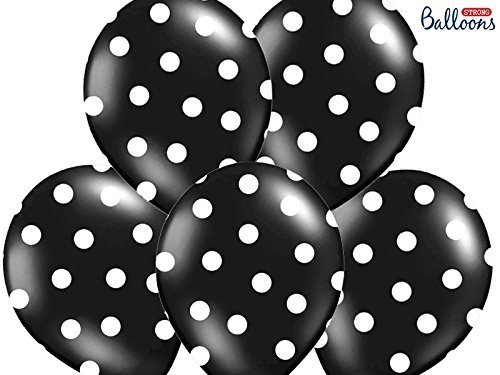 12 PALLONCINI lattice 30 cm NERO POIS BIANCHI decorazione compleanno