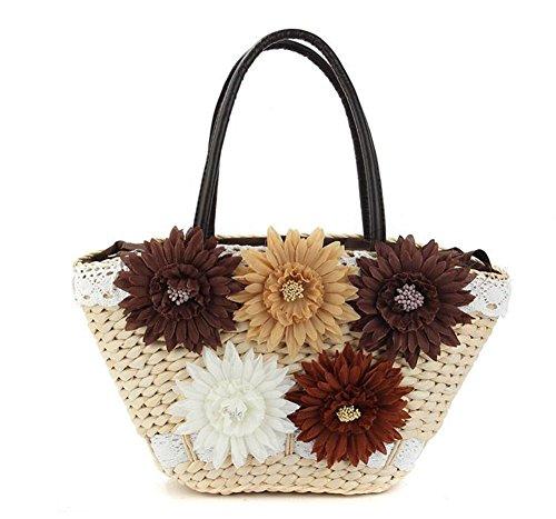 Stroh Blumen Handtaschen Mais Hust Bag Woven Farbe Frauen Stricken Freizeit Spitze Reise Strand Tote Grün , deep coffee -
