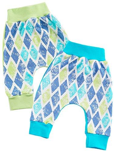 Klekle Baby Jungen Pump Baggy Mitwachs Stoff Hose 2er Set Uni grün Uni türkis 22779 Größe 104