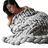 Colorful(TM) Handarbeit gestrickte Decke, dicke Wolldecke, sperrige strickende Decke, Sofadecke (Grau, 100 x 80 cm)