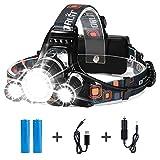 Hltd LED luce frontale ricaricabile torcia con 4 modalità, regolabile XM-L T6 Zoomable torcia Headligh ,6000 lumen impermeabile torcia per escursionismo campeggio da equitazione pesca caccia