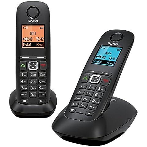 Gigaset Gigaset A540 DUO - Pack de 2 teléfonos fijo inalámbricos (manos libres,DECT/GAP), negro (importado)